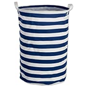 DII Cotton/Polyester Round Laundry Hamper or Basket, Perfect In Your Bedroom, Nursery, Dorm, Closet, 14 x 14 x 20  - Nautical Blue Rugby Stripe