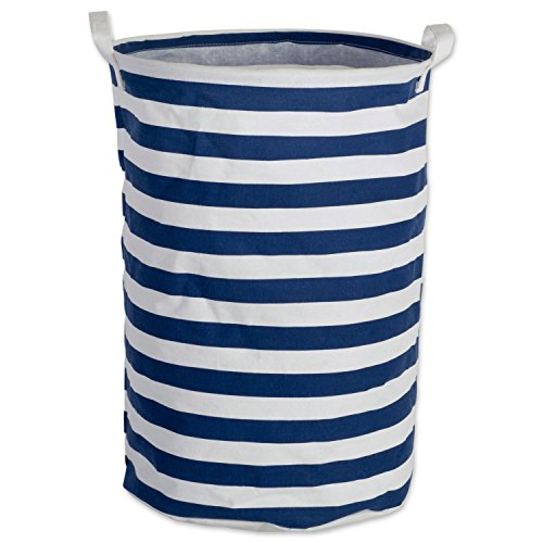DII Cotton/Polyester Round Laundry Hamper or Basket, Perfect in Your Bedroom, Nursery, Dorm, Closet, 14 x 14 x 20 - Nautical Blue Rugby (Nautical Hamper)