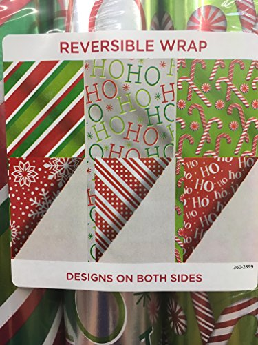 PREMIUM Reversible Gift Wrap ~ RED & GREEN 75 Sq. Ft. 175 Sq. Ft. by Holiday Time