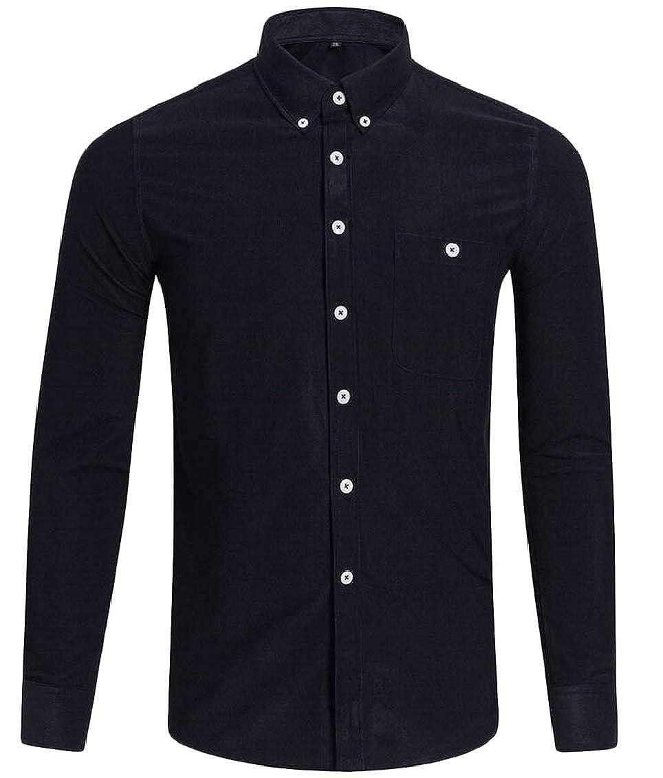 Sweatwater Men Retro Pocket Candy Color Corduroy Lapel Neck Button Down Shirts