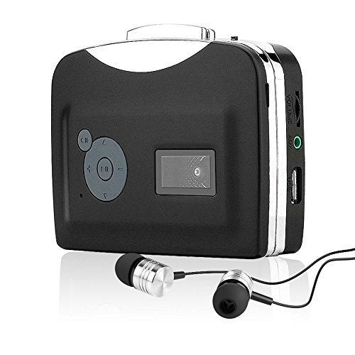 SubClap Cassette to MP3 Converter, Portable Retro Walkman Cassette Player Convert Tapes to Digital MP3 Format with Earphones, No PC Required (Black & Silver) ()