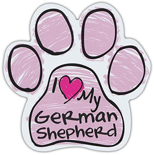 (Crazy Sticker Guy Pink Scribble Paws: I Love My German Shepherd | Dog Paw Shaped Car Magnets)