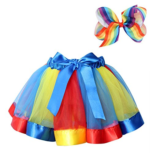BGFKS Layered Ballet Tulle Rainbow Tutu Skirt for Little Girls Dress Up with Colorful Hair Bows (RYB Rainbow, M,2-4 -