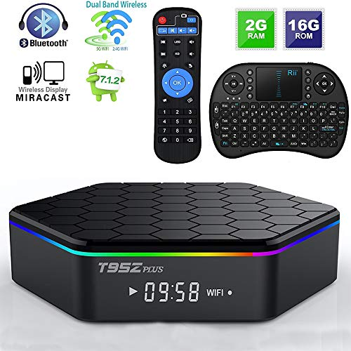 Android TV Box T95Z Plus Android 7.1.2 TV Box 2G+16G Amlogic S912 Octa-Core, 2.4/5.8G Dual-Band Wi-Fi/10-1000M LAN 64Bit BT4.0 H.265 UHD 4K Android Box with Mini Wireless Keyboard & Remote