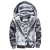 Muranba Clearance Mens Winter Warm Fleece Hooded Zipper Outwear Coat