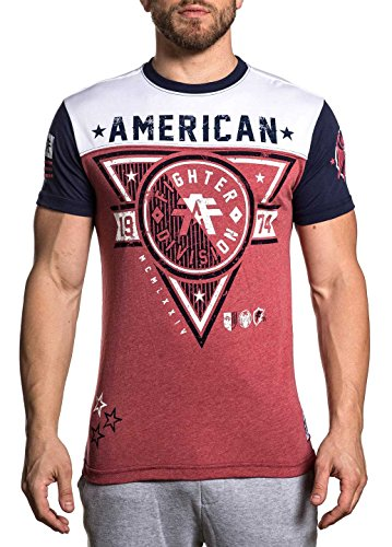 American Fighter Men's Siena Heights Short Sleeve Football Tee Red/White/Navy X-Large