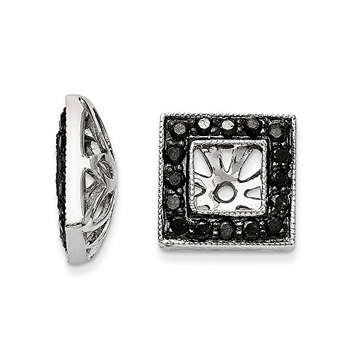 Top 10 Jewelry Gift 14K White Gold Black Diamond Square Jacket Earrings by Jewelry Brothers Earrings
