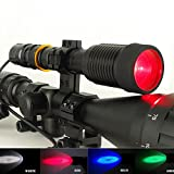 Tactical T6 LED RED Blue Green Beam for AIR Rifle/rimfire Hunting Lamp/light Kit