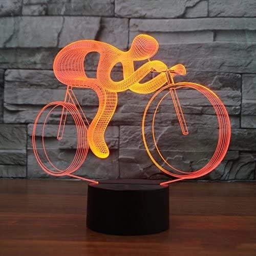 3D LED Bicicleta Luz nocturna 7 Cambio de color Lámpara de mesa visual USB Lanpara Niños Bicicleta Luz Juguete ...