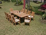 New 9 Pc Luxurious Grade-A Teak Dining Set – 94″ Rectangle Table And 8 Cahyo Stacking Arm Chairs #WHDSCH9