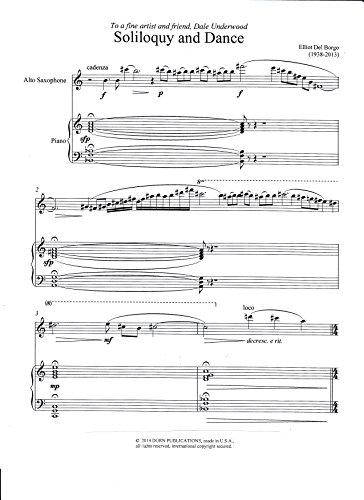 - Soliloquy and Dance for Alto Saxophone and Piano by Elliott Del Borgo