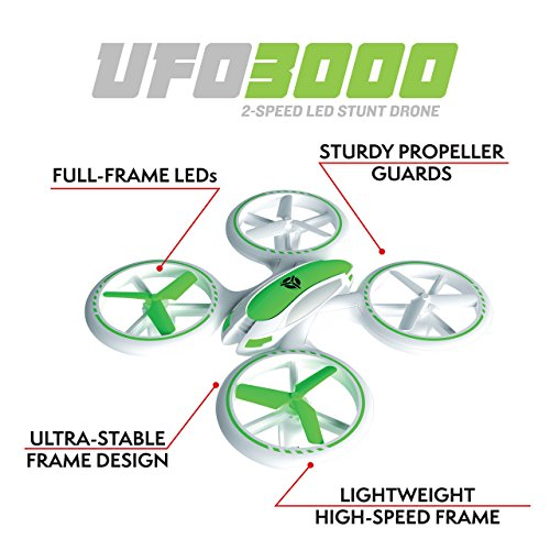 "Force1 Bright LED Quadcopter Drone – ""UFO 3000"" Easy Fly RC Drone for Kids with Glowing LED Drone Quadcopter Lights + Mini Drone Bonus Battery and Blades (Certified Refurbished) by Force1 (Image #2)"