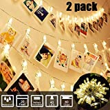 2 Pack 40 LED Photo Clips String Lights Holder for Bedroom Indoor Dorm 10ft String Light Hang Pictures Cards Decor Party Wedding Halloween Thanksgiving Christmas Festival Birthday Gift Battery Powere