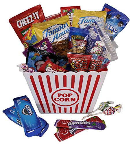 - MOVIE NIGHT GIFT BASKET 30 Of Your Favorite Popcorn, Candy Cookies Crackers Perfect Birthday Box Holiday Surprised College Care Package Kids Party Family Movie Night Or A Special Date Night