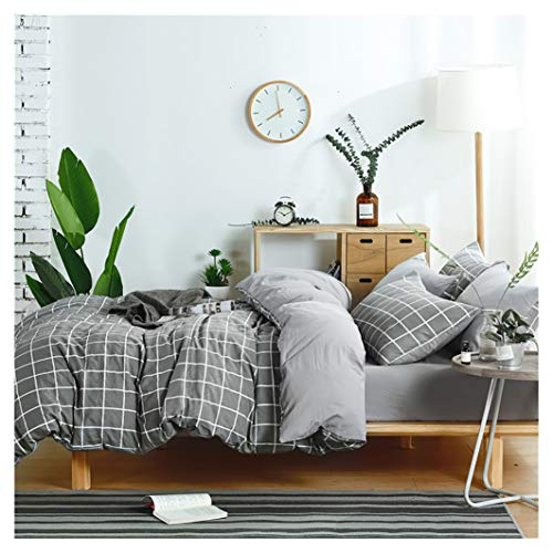 Elephant Soft Queen Bedding Duvet Cover Set, Premium Microfiber,Grey Grid Pattern On Comforter Cover-3pcs:1x Duvet Cover 2X Pillowcases,Comforter Cover with Zipper Closure (Full/Queen) ()
