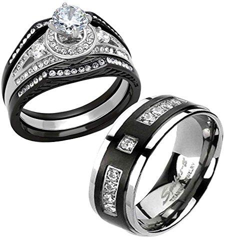 Titanium & Stainless Steel Black His and Hers Wedding Ring Sets CZ bz Spj Women Sz-10 & Men Sz-10