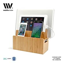 MobileVision Bamboo Universal Multi Device Cord Organizer Stand and Charging Station for Smartphones, Tablets, and Laptops