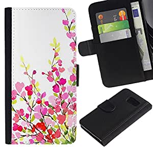 Planetar® Modelo colorido cuero carpeta tirón caso cubierta piel Holster Funda protección Para Samsung Galaxy S6 / SM-G920 ( Green White Pink Purple Spring )