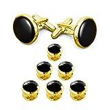 Kyпить LIEBLICH Mens Black Round Tuxedo Shirts Cufflinks and Button Studs Set Ideal Jewelry Gift for Men (Style 3) на Amazon.com