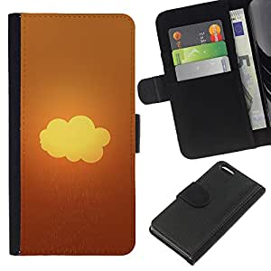 Protector de cuero de la PU de la cubierta del estilo de la carpeta del tirón BY RAYDREAMMM - Apple Iphone 5C - Rainy Nube