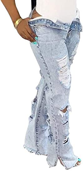 女性デニムパンツハイライズスプリットリッピング破壊ルーズフィットジーンズデニムパンツ