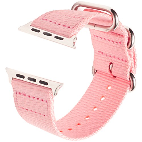 - Carterjett Compatible Apple Watch Band 38mm 40mm Nylon Sport Replacement Strap Womens Breathable Woven Canvas Stainless Steel Adapters NATO Buckle Compatible iWatch Series 4 3 2 1 (38 40 S/M/L Pink)