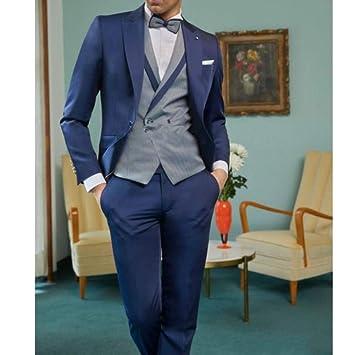 GFRBJK Azul Marino Trajes de Novio Esmoquin Trajes de Hombre para ...