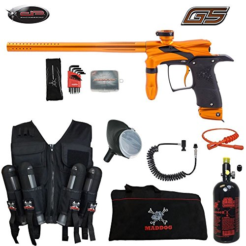 MAddog Dangerous Power G5 Lieutenant HPA Sport Vest Paintball Gun Package – Orange/Black For Sale