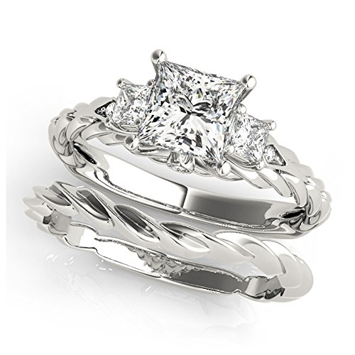 14K White Gold Unique Wedding Diamond Bridal Set Style MT50974