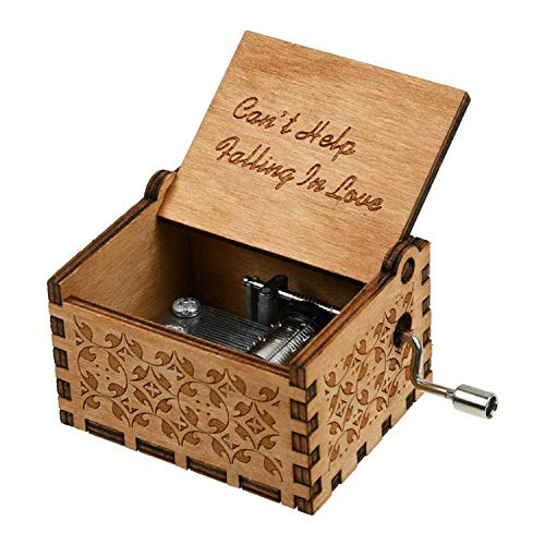 Huntmic Can't Help Falling in Love Wood Music Box, Antique Engraved Musical Boxes Case for Birthday Present Kid Toys Hand-Operated