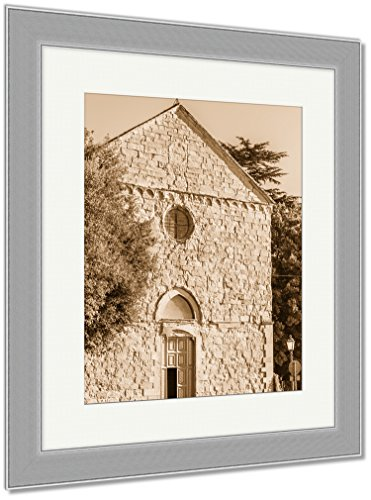 Ashley Framed Prints Church In Cortona City, Wall Art Home Decoration, Sepia, 40x34 (frame size), Silver Frame, AG5534797 by Ashley Framed Prints