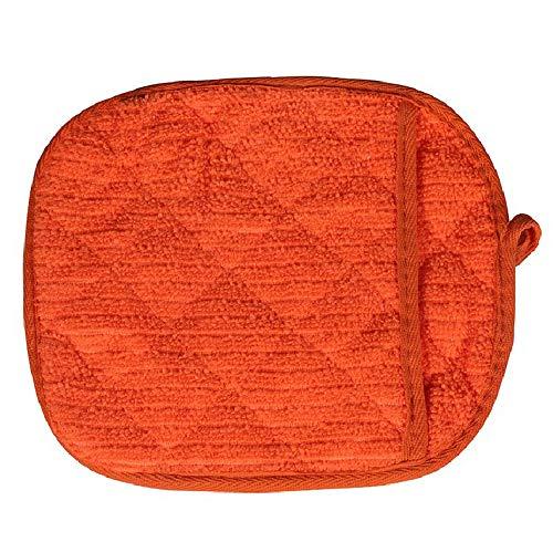 MaxFox Microwave Oven Gloves Kitchen High Temperature Cotton Anti-Scalding Mitten Thick Towel Insulation Pad (orange)