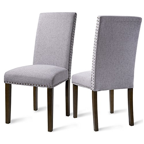 - Set of 2 Upholstered Dining Chair Decorative Chair with Decorative Nails Inset Thick Padded Backrest and Cushion Brown-wash Finish Leg - Dining Kitchen Guest Room - (Grey)