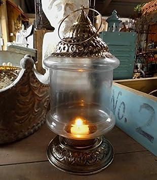 LATERNE ANTIK ORIENT STIL LANDHAUSSTIL METALL GLAS SHABBY SILBER WINDLICHT NEU Home Decor Home, Furniture & DIY