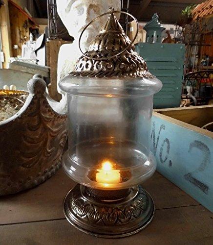 Unbekannt Laterne ANTIK Orient Stil LANDHAUSSTIL Metall Glas Shabby Silber WINDLICHT