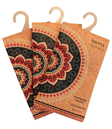 (Premium Sandalwood Scented Sachets for Drawers, Closets and Cars, Lovely Fresh fragrance, Lot of 12 Bags, By Karma Scents)