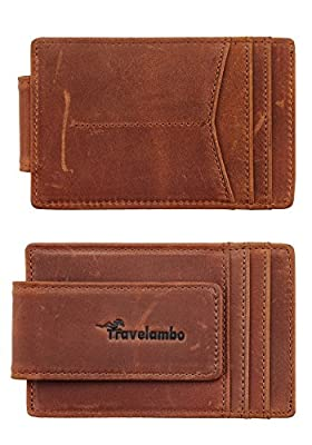 Travelambo Money Clip Front Pocket Wallet Slim Minimalist Wallet RFID Blocking