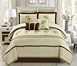 8 Piece Oversize Sage Green / Beige / Brown Tropical PALM TREE Embroidered Luxury Comforter Set King Size Bedding 104''X94''