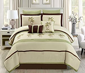 8 Piece Oversize Sage Green / Beige / Brown Tropical PALM TREE Embroidered Luxury Comforter Set Queen Size Bedding 94