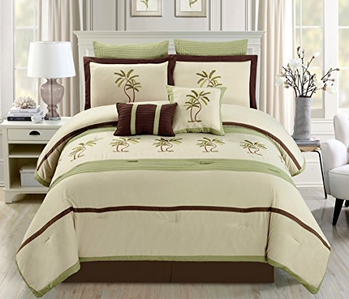 8 Piece Oversize Sage Green / Beige / Brown Tropical PALM TREE Embroidered Luxury Comforter Set King Size Bedding 104