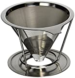 Pour Over Coffee Maker - Paperless Reusable Stainless Steel Drip Coffee Cone Filter with Removable Stand (1-2 Cup) by urrika