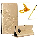 Wallet Case for Samsung Galaxy Note 9,Strap Portable Leather Case For Samsung Galaxy Note 9,Herzzer Stylish Bling Diamonds Gold Butterfly Embossed Pu Leather Purse Pouch Magnetic Closure Flip Folio Protective Case