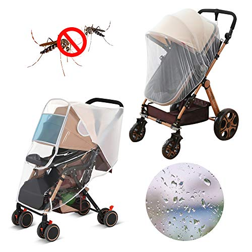 (LEMESO Stroller Rain Cover Universal + Mosquito Net Baby Travel Weather Shields Waterproof Windproof Protection)