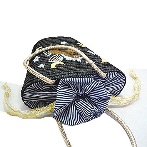 WANGXN Mujer paquete de paja Starry Moon bolso de hombro bolsa de playa artificial de punto , blue blue