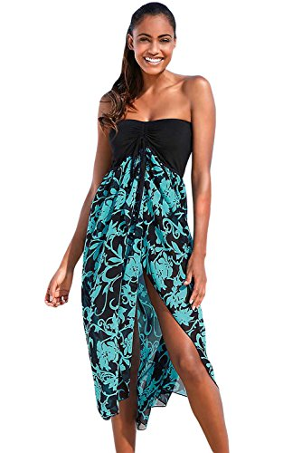 Eiffel Women's Boho Chiffon Off Shoulder Vacation Holiday Summer Beach Long Maxi Dress Swimwear (Medium, Black Turquoise) -