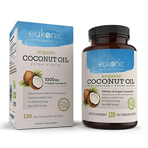 Organic Coconut Oil Capsules Extra Virgin 1000 mg by Eukonic | 120 Softgels | Assists Weight Loss | Supports Healthy Diet & Healthy Cholesterol Levels | Non-GMO | Made in - 100 Bottle Softgel