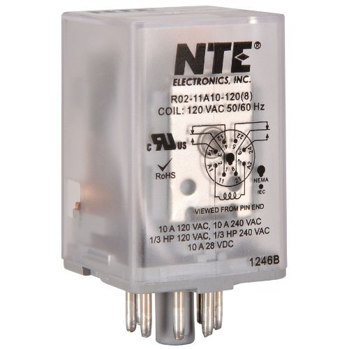 NTE Electronics R02-11A10-120 R02 Series General Purpose Multicontact AC Relay, DPDT Contact (R02 Series)
