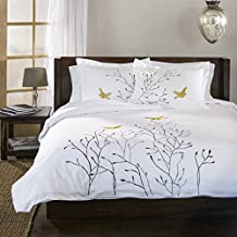 100% Cotton, 3-Piece King/California King, Single Ply, Soft, Embroidered Swallow Duvet Cover Set