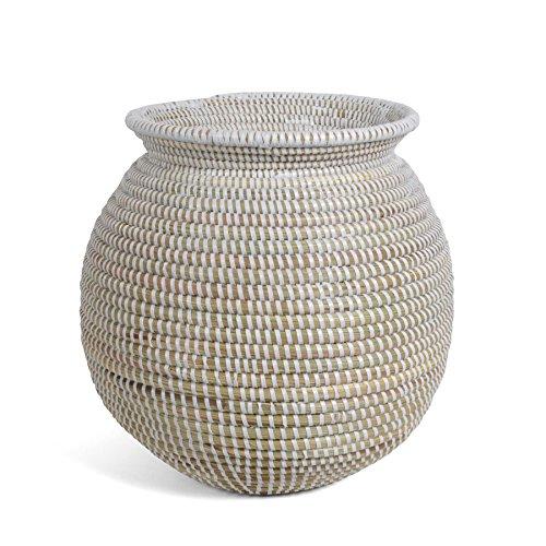African Fair Trade Vase Basket, White