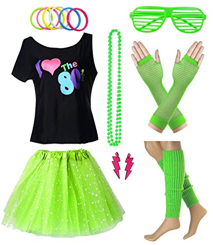 Women I Love The 80's T-Shirt with Star Sequin Tutu Skirt Plus Size Costume Outfit Accessory (XL/XXL, Green)